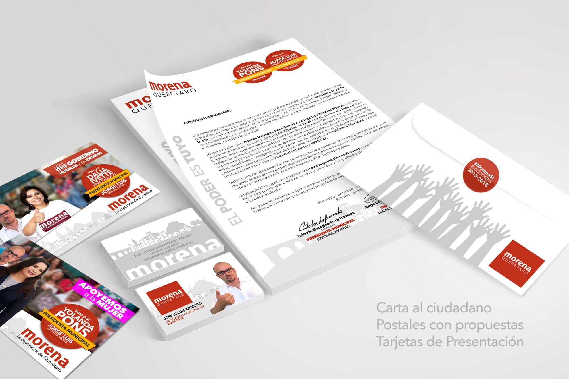 8de0d98def4cf Mock up Paquete de propaganda para MORENA Querétaro. - Carta para elector -  Tarjetas de Presentación - Postales - Sobre Personalizado