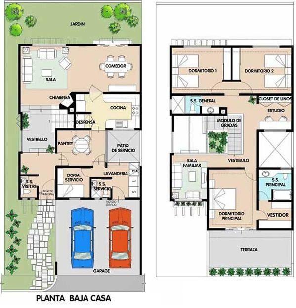 planos de casas modernas 2 plantas