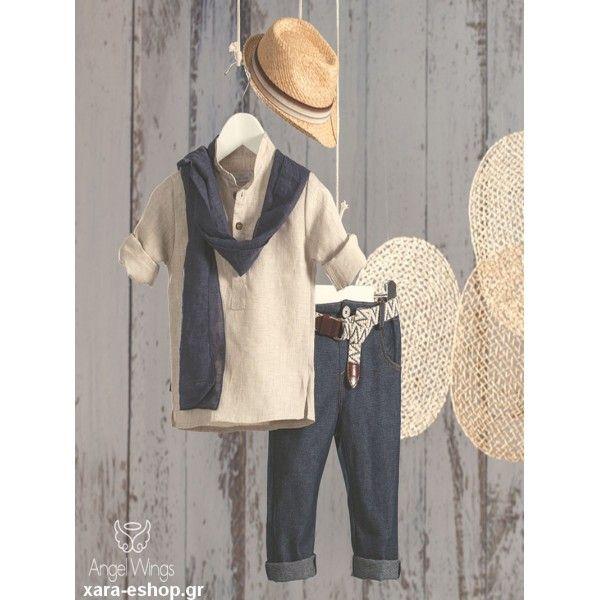8bcc3a5cd8f3 Βαπτιστικό κουστουμάκι Angel Wings οικονομικό με baggy παντελόνι, λινή  πουκαμίσα, φουλάρι και καπέλο,