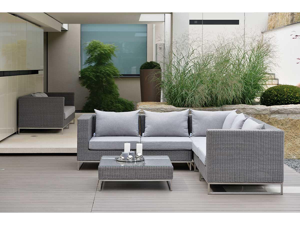 stern lounge mittelelement fontana geflecht basaltgrau kissen grau meliert kaufen im borono. Black Bedroom Furniture Sets. Home Design Ideas