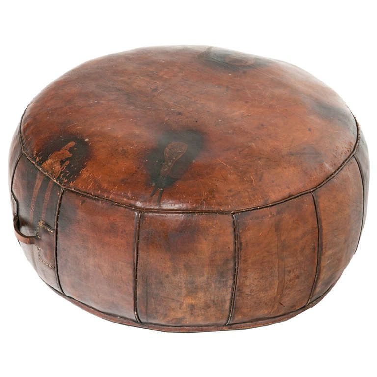 vintage leather ottoman from a unique