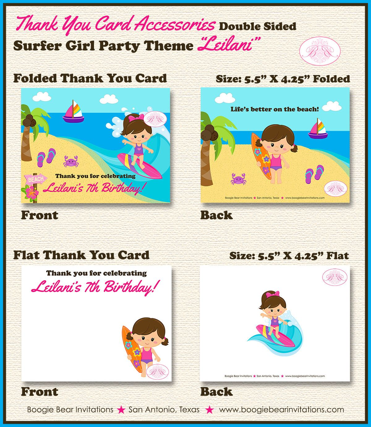 Surfer Girl Birthday Party Thank You Card Beach Swimming