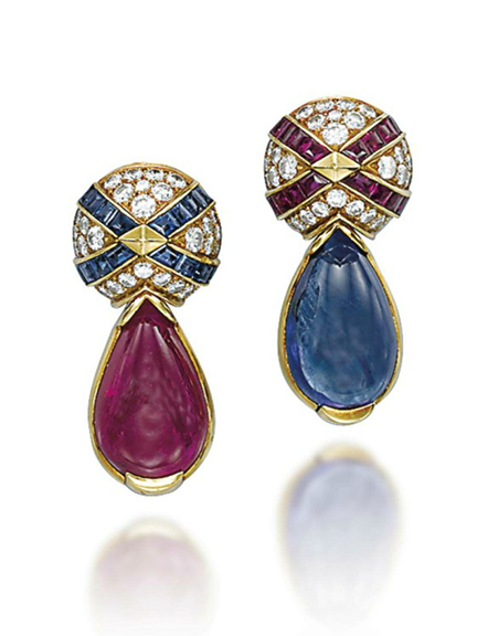 A PAIR OF SAPPHIRE, RUBY AND DIAMOND EAR CLIPS, BY BULGARI  Each with a pavé-set diamond dome top, decorated with ruby or sapphire crossed lines, and suspending a drop-shaped sapphire or ruby collet, mounted in gold, 3.5 cm Signed Bulgari