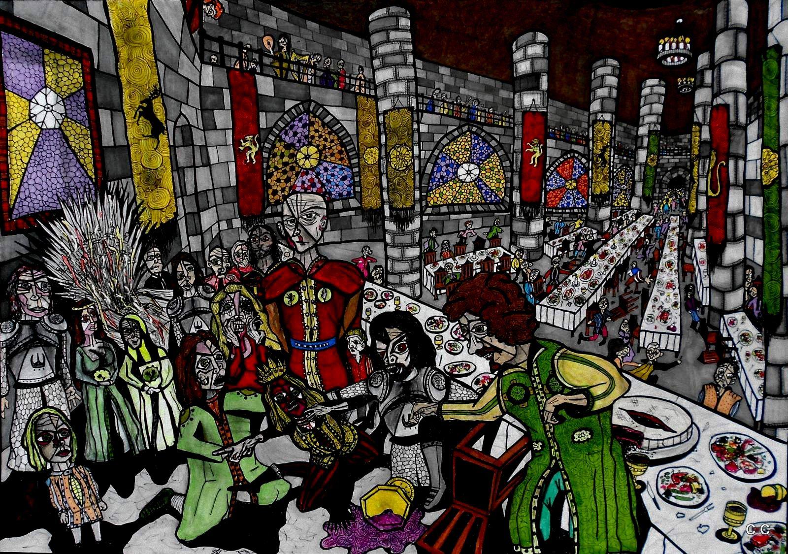 The Purple Wedding By Cerque On Deviantart Got Agot Asoiaf Game Of Thrones Art Purple Wedding Art