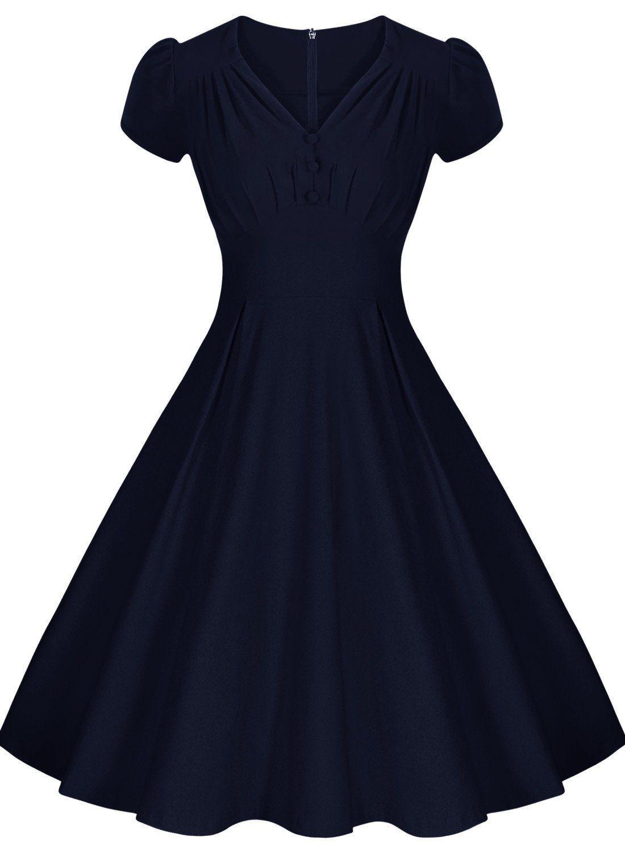 80cb5be1ebc2 Miusol® Women's Retro V-Neck 1950'S Vintage Bridesmaid Party Dress |  Amazon.com