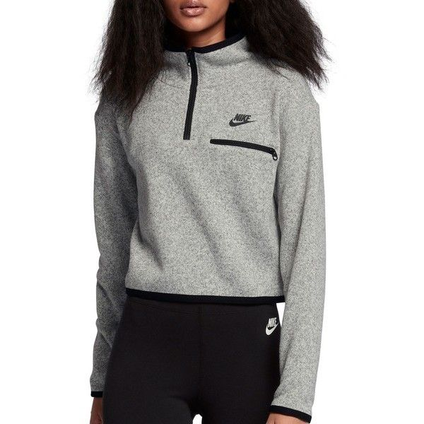 86ed60b6 NIKE Sportswear Women's Half Zip Knit Top ($70) ❤ liked on Polyvore  featuring tops, crop tops, knit top, long sleeve tops, nike tops and half  zip top