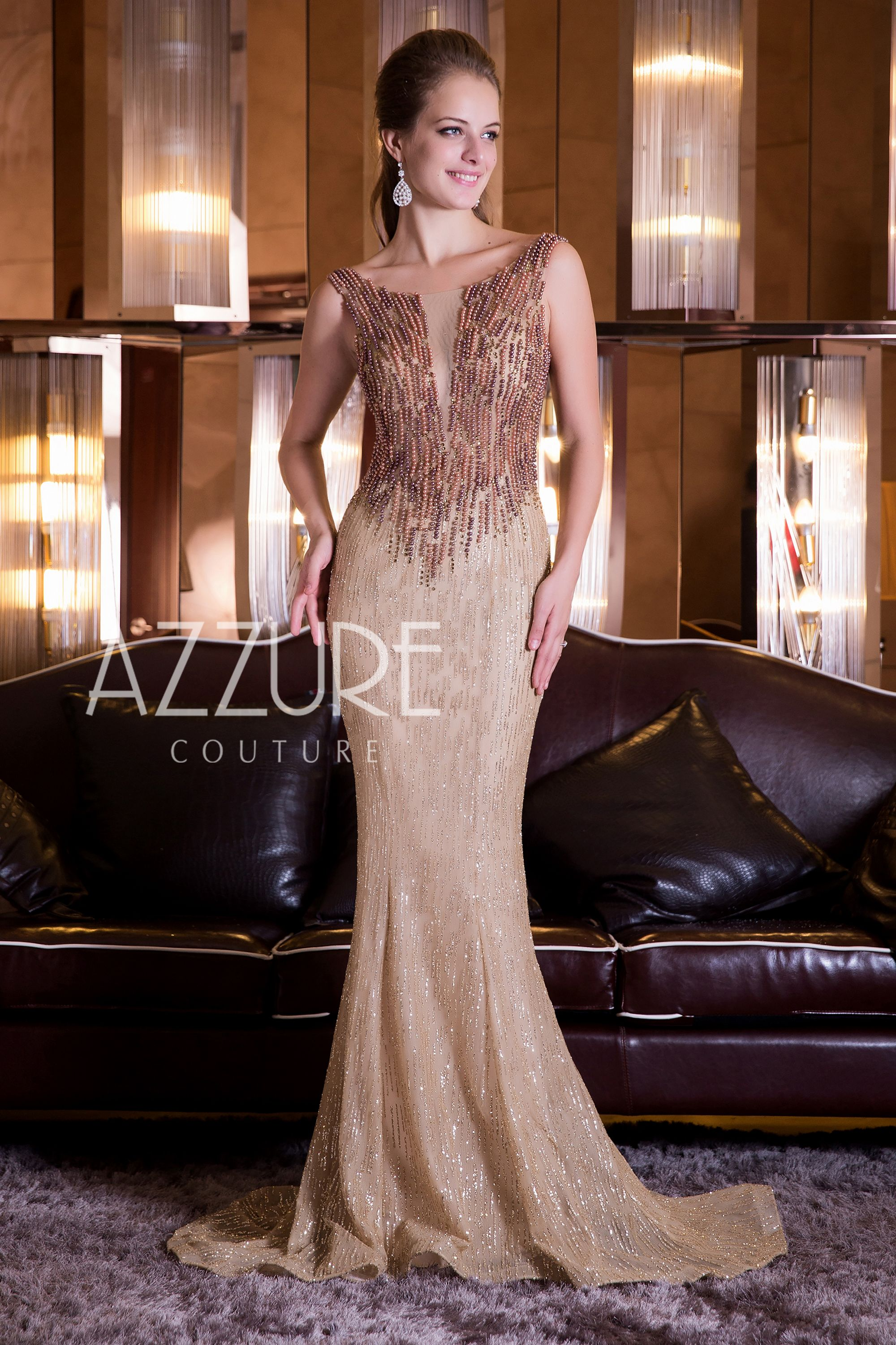 Mermaid Scoop Neck Beaded Bodice #EveningDress.   Sparkly Gold   By ...