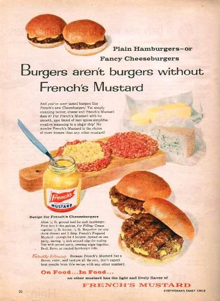 French's Cheeseburgers Recipe French's 1959 Ad | Remember ...