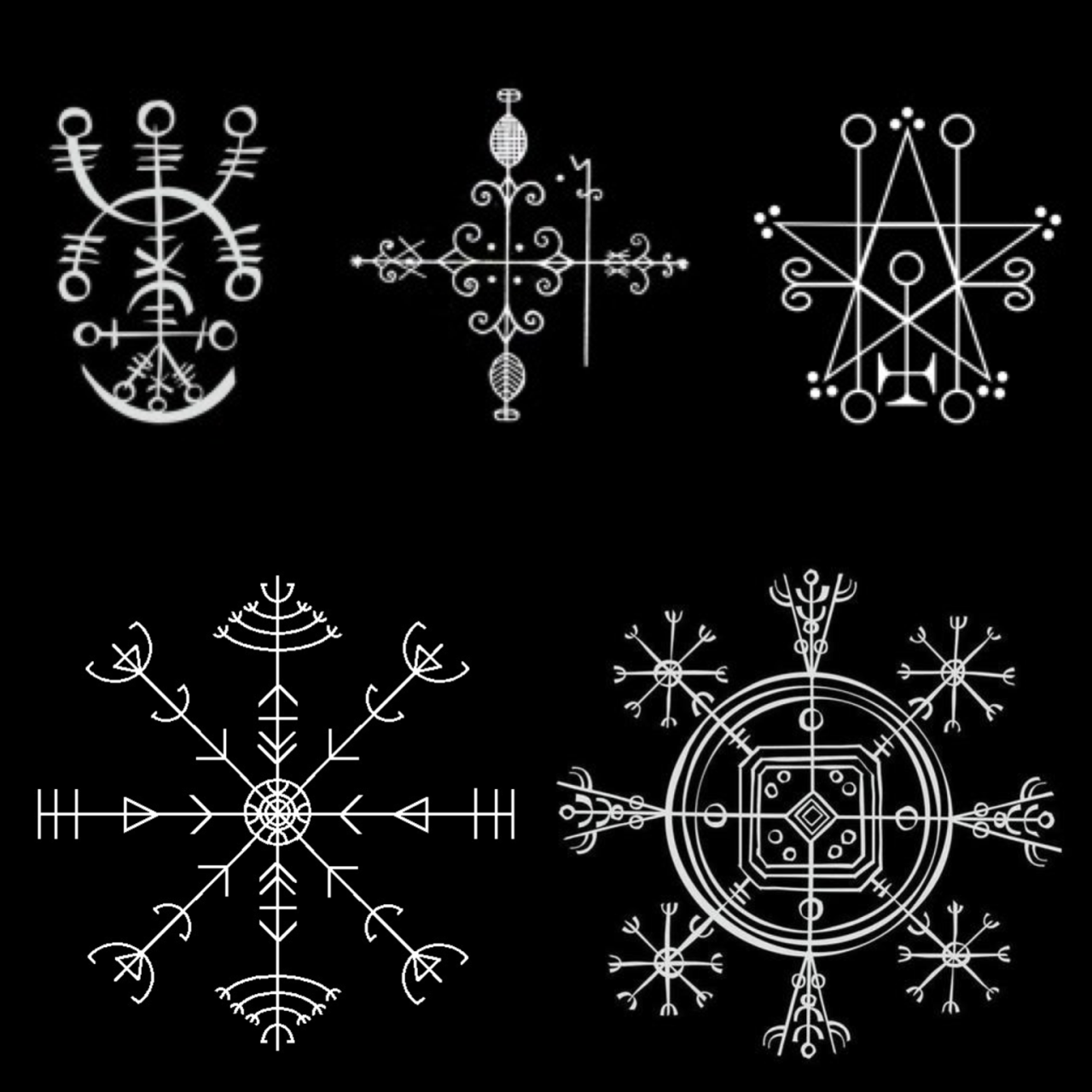 "tear-nanok: ""Icelandic sigils "" On the top row, the two on the right aren't Icelandic. I read UNVERIFIED that they are ""vodou veve"" and ""goetic sigil"". The rest are typical and mighty fine examples of Icelandic galdrastafir - characterized by..."