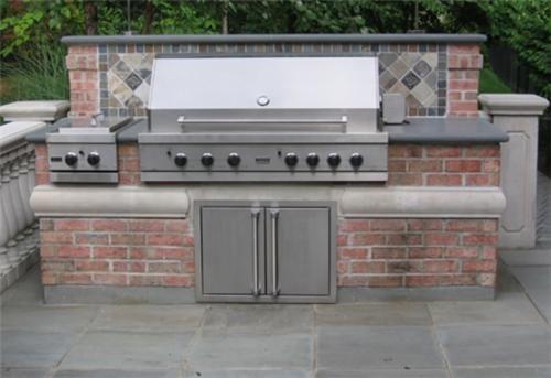 Brick Built In Bbq Outdoor Kitchen Cipriano Landscape Design Mahwah, NJ