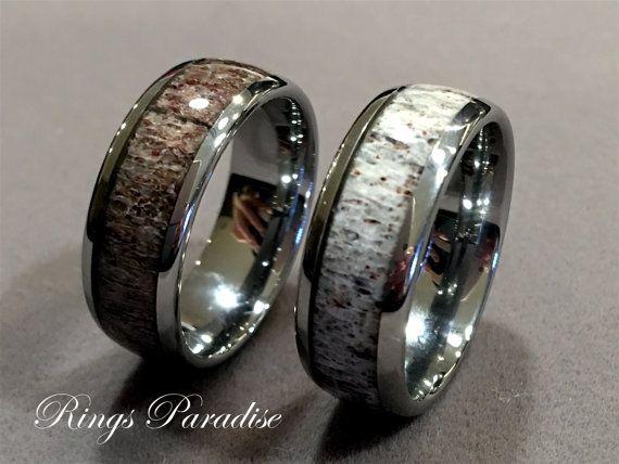 Mens Tungsten Ring Antler Wedding Band Engagement Por Ringsparadise