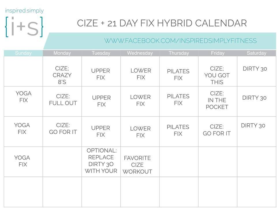 21 Day Fix and Cize Hybrid Calendar Workout calendar, Shakeology