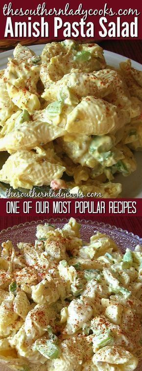 One of our most popular recipes. Amish pasta salad is delicious and one you and your family will love. This is an old recipe and great to take to any event. You will get asked for this recipe every time.  pasta  salad  Amish  recipes  events  holidays  SpicyFoodRecipes