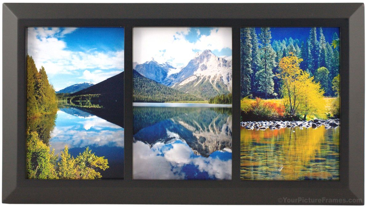 Black Triple Frame in Classic Wood Molding | Triple Picture Frames ...