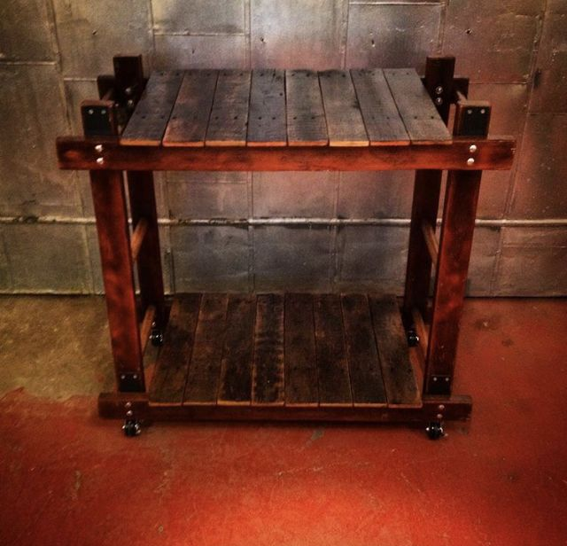 Industrial Bar Cart / Rustic Bar Cart - made from recycled wooden ladders #woodworking #ladders #recycled #upcycled #upcycle #reclaimedwood #industrialcart #industrialbarcart #barcart #rusticbarcart #rusticcart #industrialdecor #industrialdesign #rusticdesign #rusticdecor #interiordesign #customfurniture #upcycledfurniture #palletwood #reclaimedwood #lionworks #lionworksdesigns