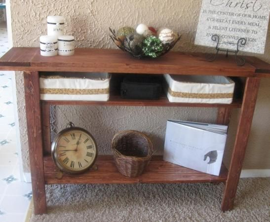 Simple Console Table With Added Shelves Turn The Shelfs