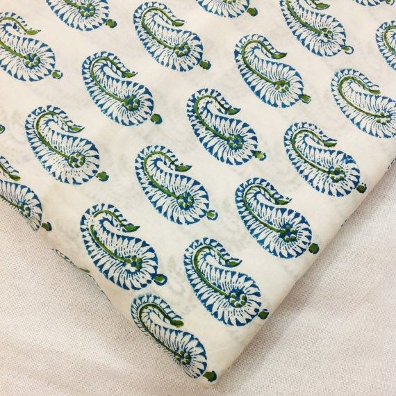 Blue and White - Printed Paisley - Indian Block Print Fabric ...