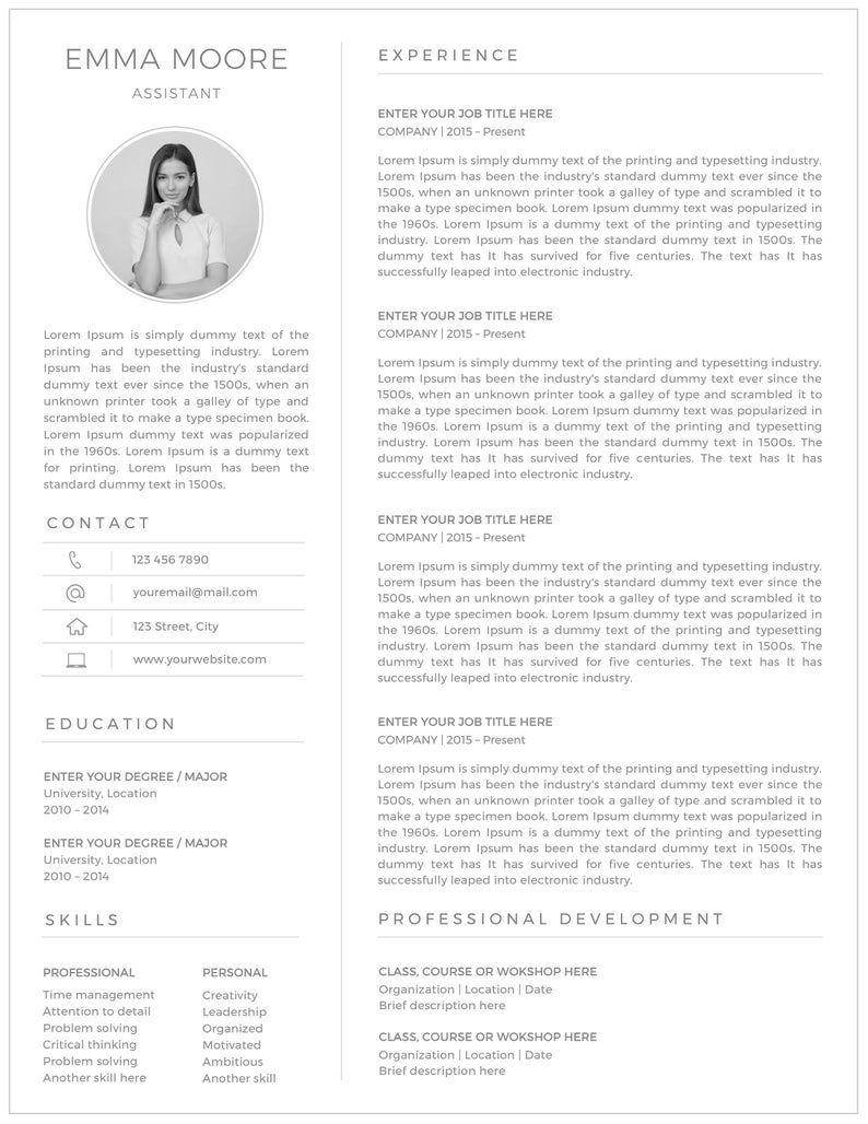 Resume Template, Professional Resume, Ms word Resume