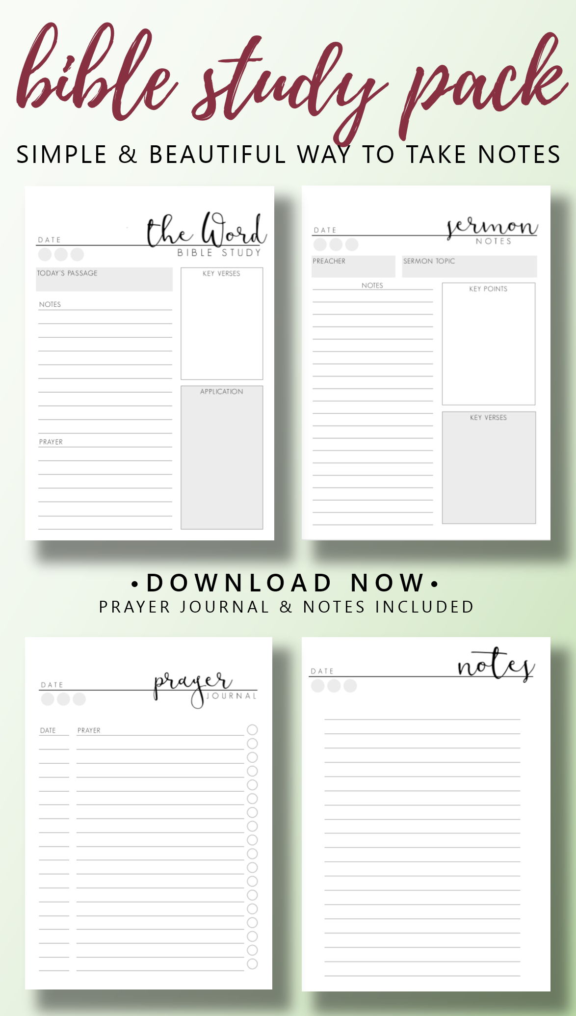 Sermon Notes Printable