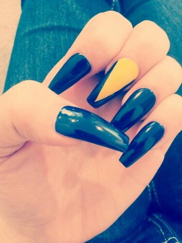 My Coffin nails...navy blue and yellow... | claws✊ | Pinterest ...