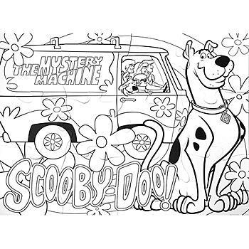 Mystery Machine Coloring Pages Scooby Doo  Floor Activity Puzzle Each