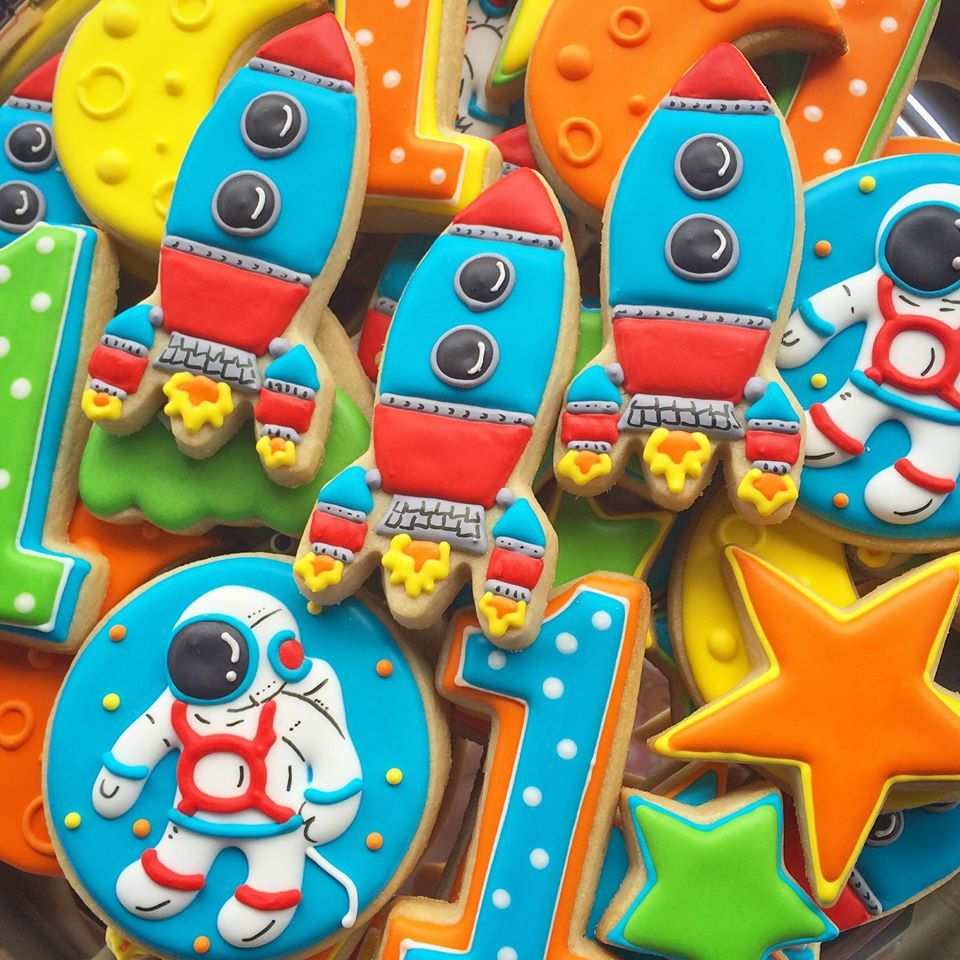 Brightly colored space cookie set with astronaut space ship stars