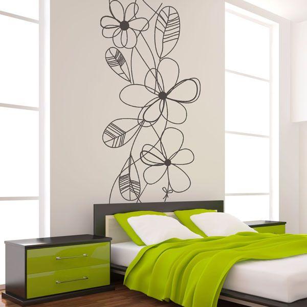 Vinil decorativo moderno mo047 um elegante design floral para a decorar a cabeceira do deu