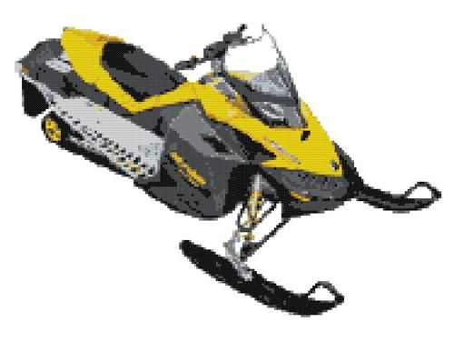 2008 Ski Doo Rev XP Snowmobile Cross Stitch Pattern Love