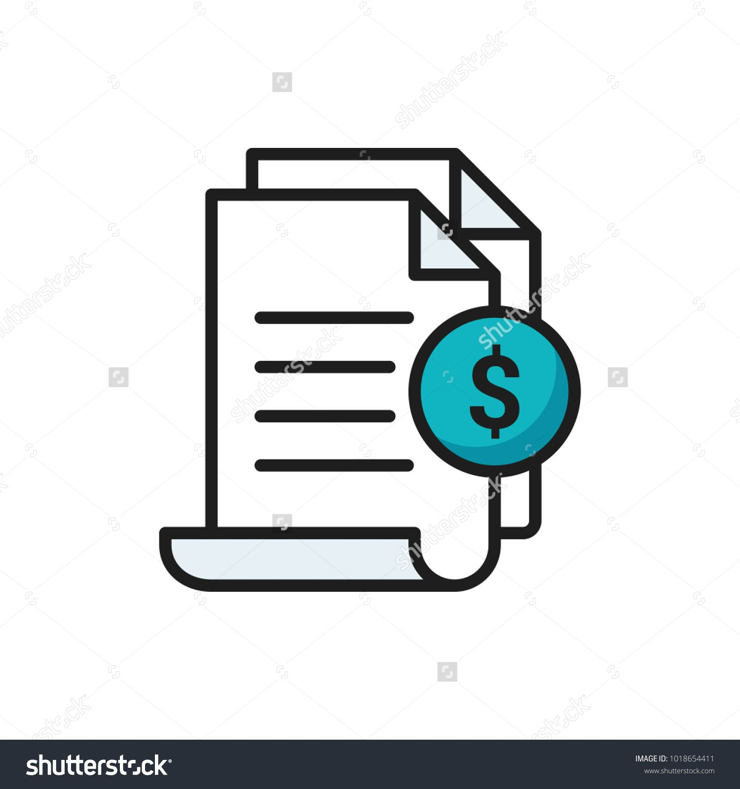 Invoice Icon Bill Paid Symbol Tax Form Outline Icon Paper