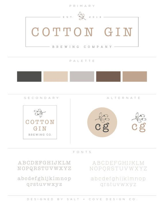 premade branding package cotton gin logo design kit