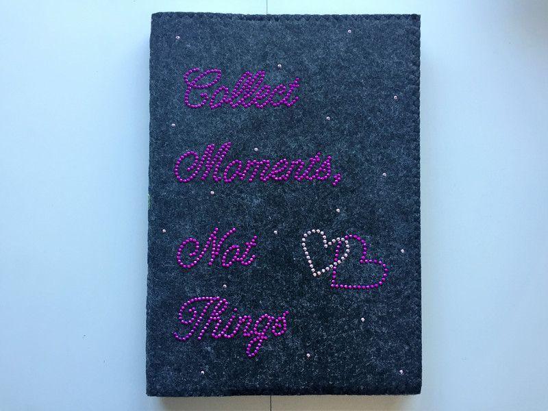 """DIN A4 - Filznotizbuch DIN A4 """"Collect Moments, Not Things"""" - ein Designerstück von Strassfee bei DaWanda"""