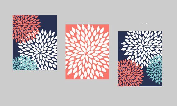 Navy Coral Teal Wall Art, Bedroom Pictures, Bathroom Artwork, Flower Wall Art, Floral Prints, Flower images