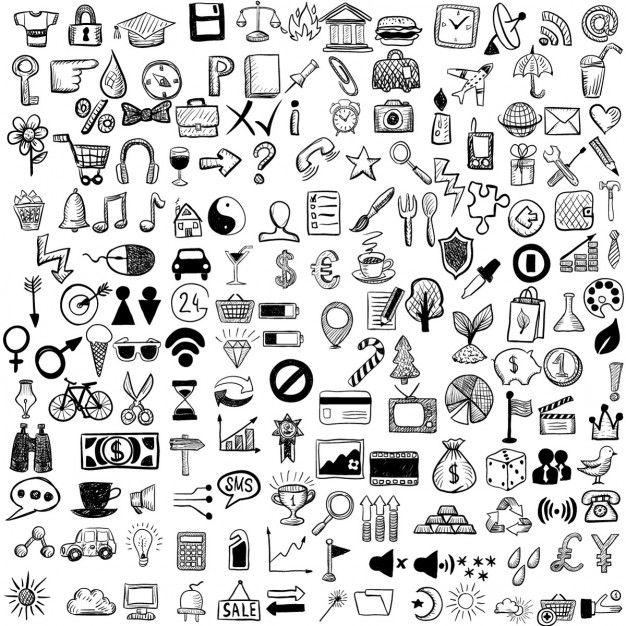 2bf30cf20beb3 Conjunto de iconos dibujados a mano Vector Gratis