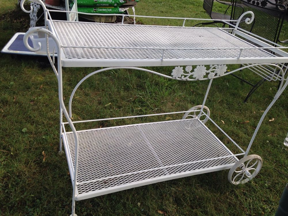 RARE Vintage Woodard Patio Tea Serving Cart Wrought Iron Bar / Ranch Cart