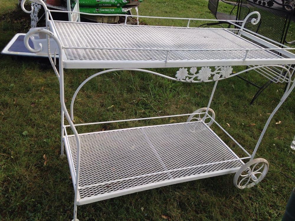 rare vintage woodard patio tea serving cart wrought iron bar ranch cart ebay meubles
