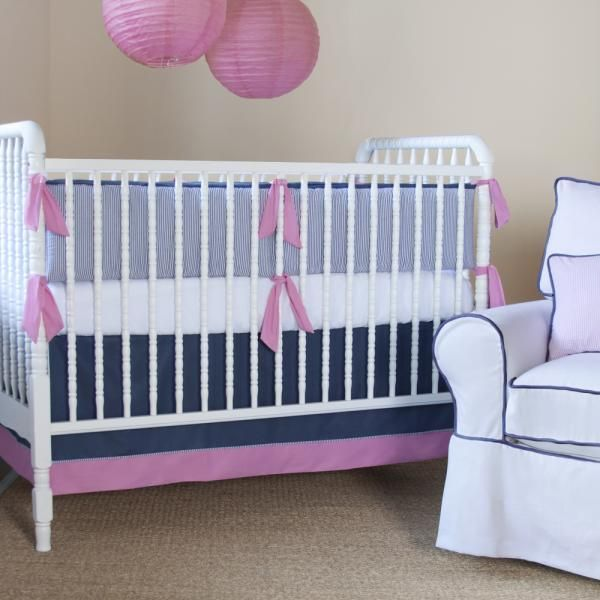 Brighton Seersucker Crib Set Crib Bedding Sets Cribs