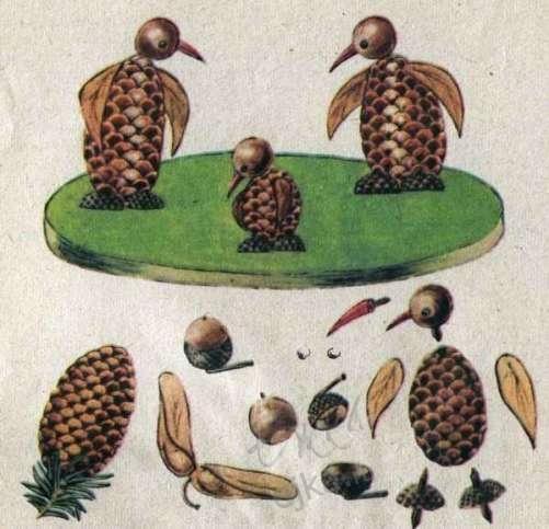 Рисунки из еловых шишек