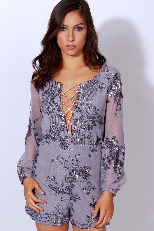 6dba2e8281e3 Glam Affair Sequin Romper Lavender