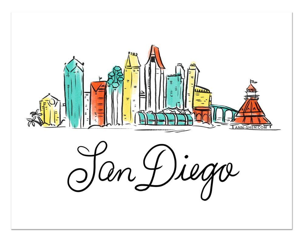 "City Love – San Diego Art Print 10x8"""