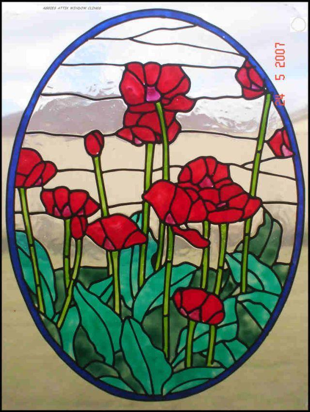 Field of Poppies faux leadlight window cling - Aggies Attik  sc 1 st  Pinterest & Field of Poppies faux leadlight window cling - Aggies Attik   FLOWER ...