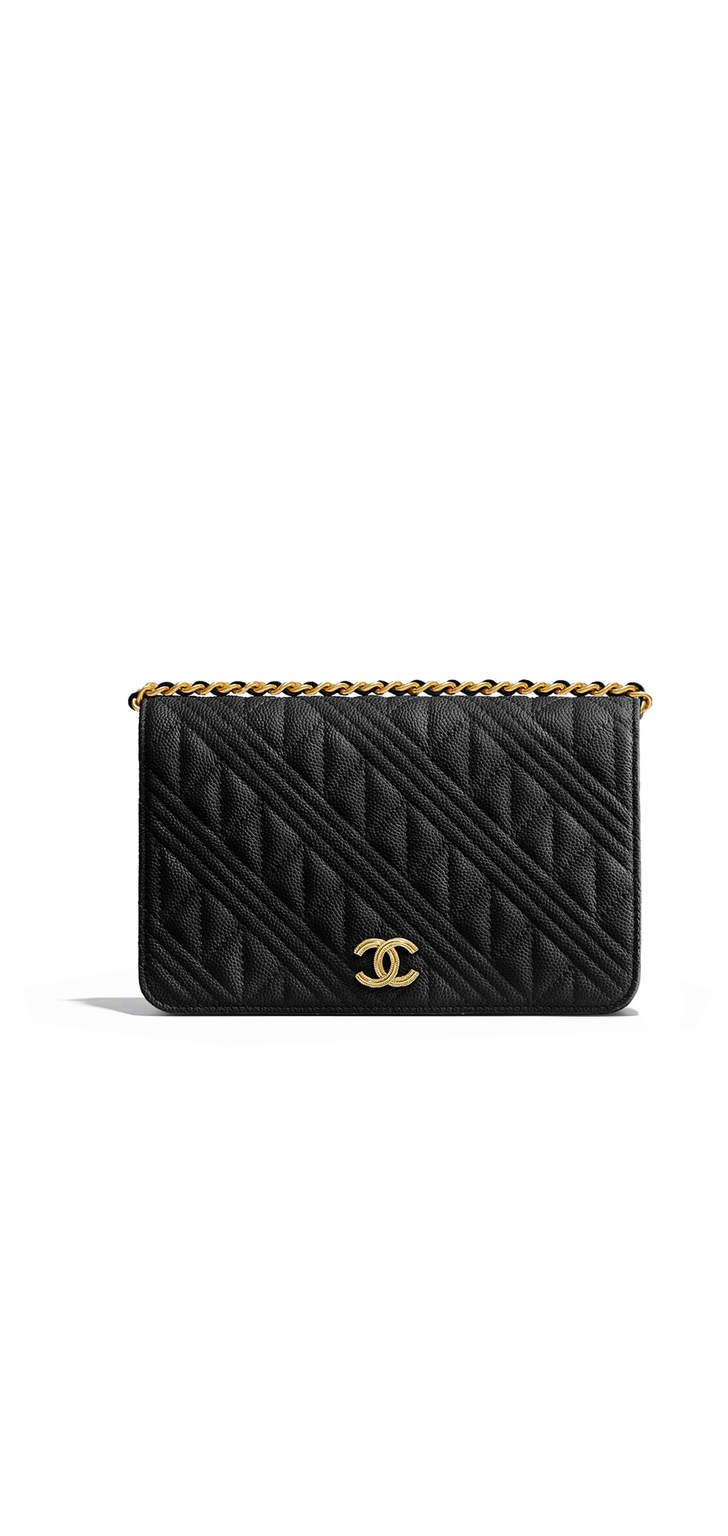 f2f7956ad840f Wallet on chain, grained calfskin & gold-tone metal-black - CHANEL ...
