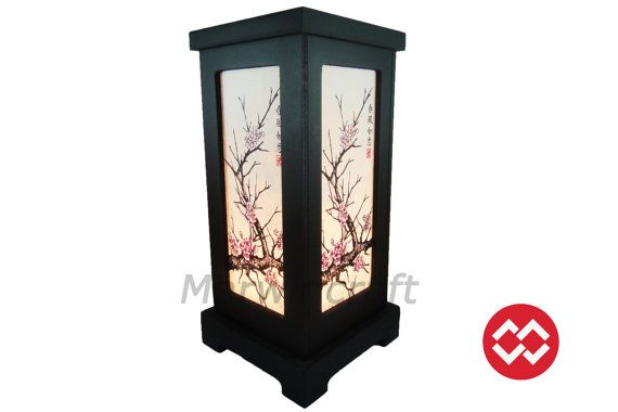 No Screw Asian Oriental Wood Japanese Lamp Zen Bedside Lamp Floor