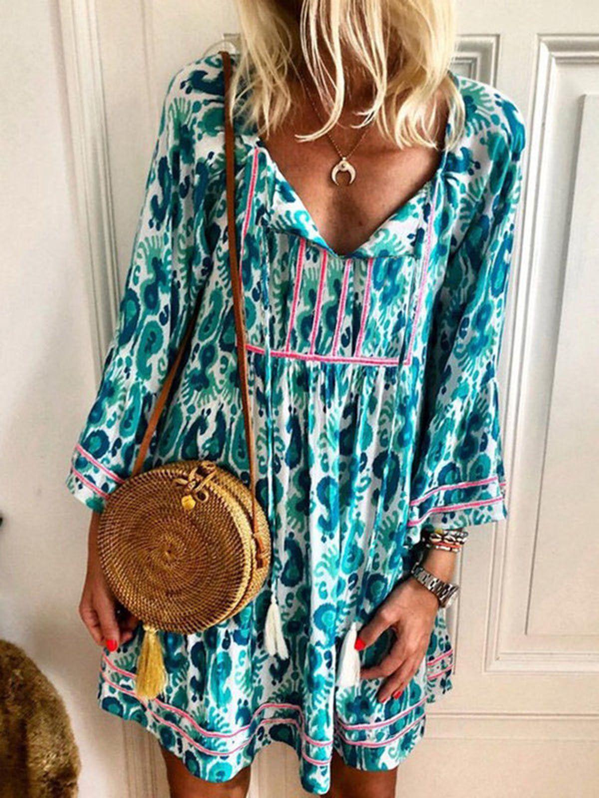 Anniecloth Summer Dresses Long Sleeve Shirt Dress Daily Shift V Neck Casual Printed Dres Printed Casual Dresses Long Sleeve Shift Dress Long Sleeve Shirt Dress [ 1600 x 1200 Pixel ]