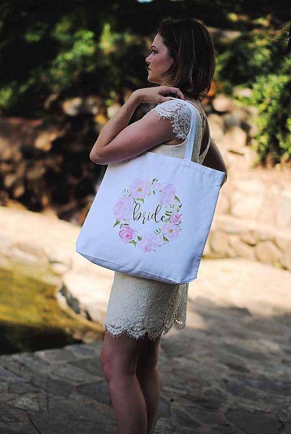Floral Bride Tote Bag - wedding gifts, bride gift, bachelorette, engagement gift, bridal shower gift