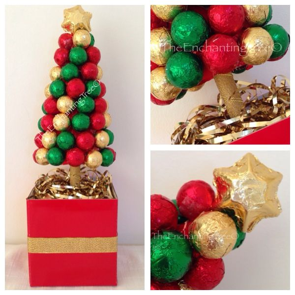 "Festive ""Chocolatier"" baubles topped with a chocolate star.  www.TheEnchantingTree.com.au  #chocolate #christmas #baubles #christmascolours #christmasgift #chocolategift #centrepiece #gold #green #red"