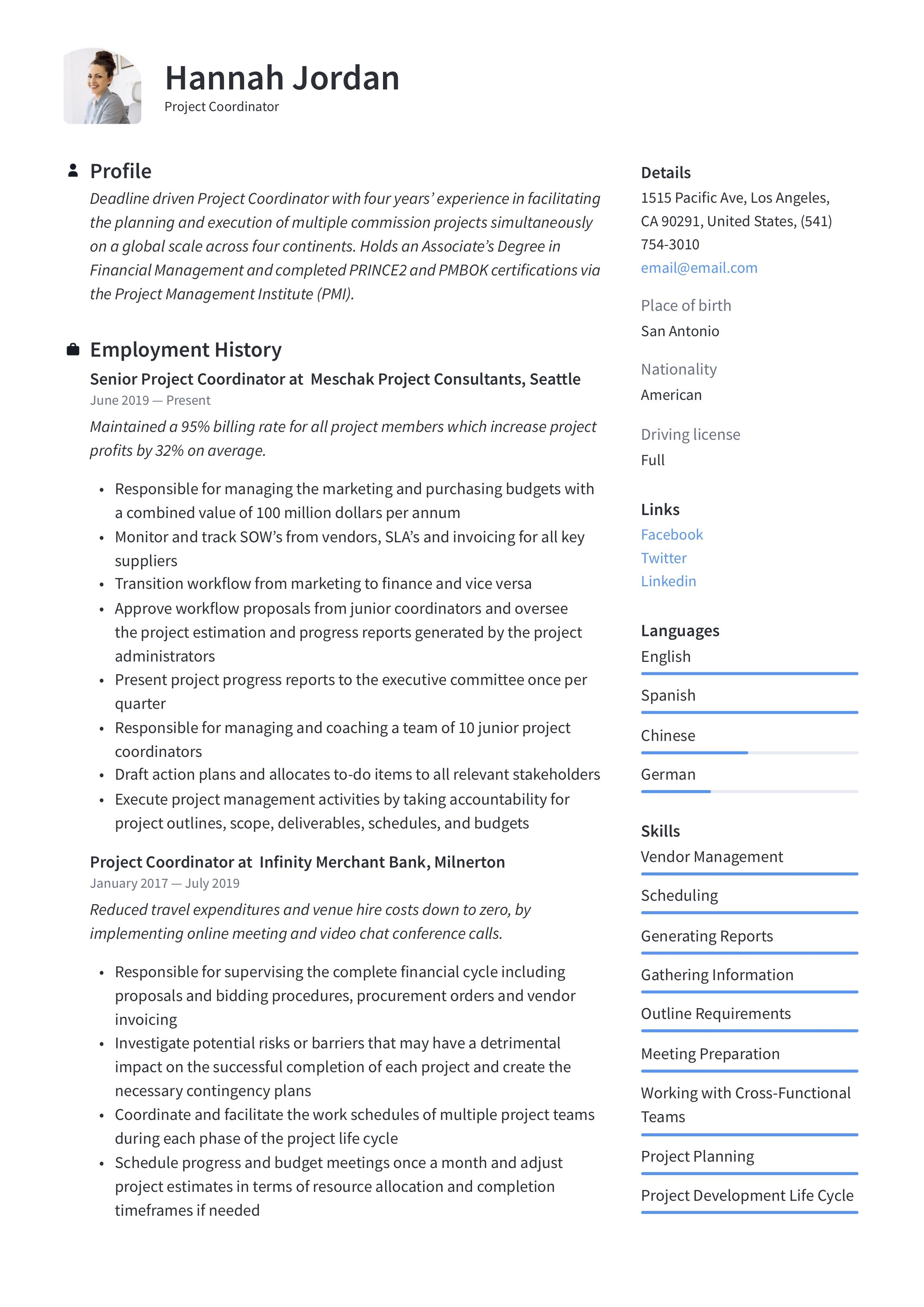 Project Coordinator Resume & Writing Guide in 2020