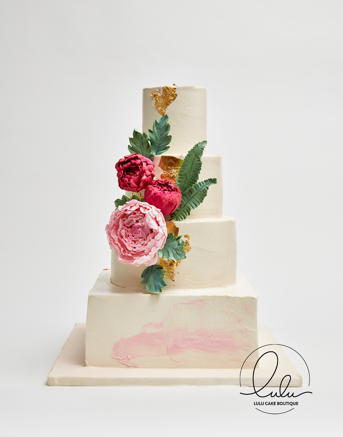 Pink Watercolor painted cake with Peonies and edible flowers, 100 ...