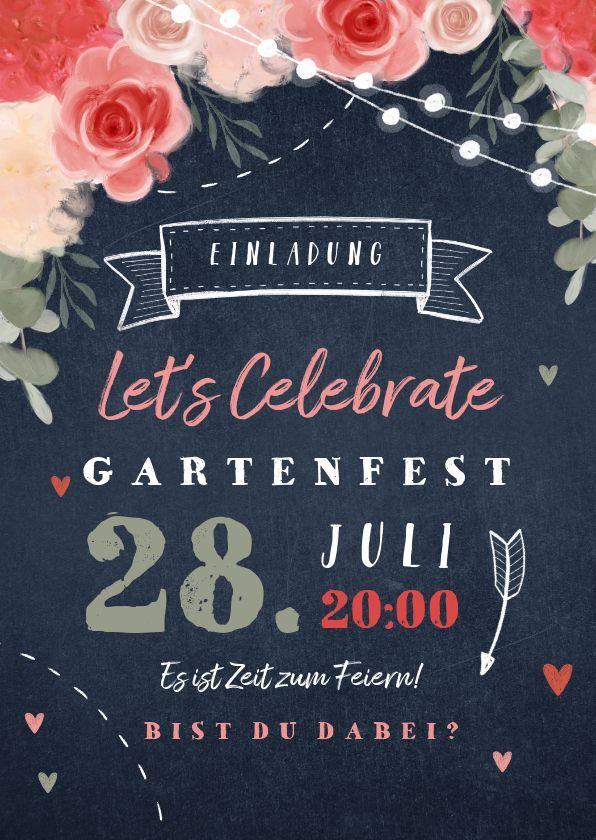 Einladungskarte für die Gartenparty Blumen und Herzen  Einladungskarten Box   Einladungen zum Gartenfest
