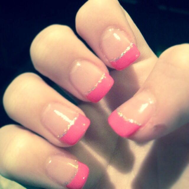 Pink French tips - acrylic nails | Hair and Makeup | Pinterest ...