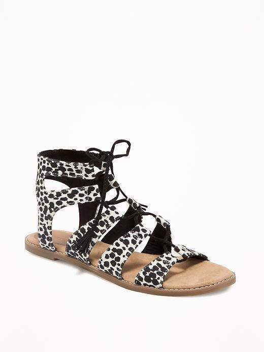 bf071531eb3 Old Navy · Patterned Gladiator Sandals for Women Animal White Leopard Print  Unique Shoes